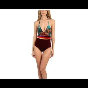 Velvet retro one piece swimsuit
